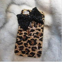 Fashion Leopard Bowknot Hard Cover Case For Iphone 4/4s/5