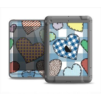 The Stitched Plaid Vector Fabric Hearts Apple iPad Mini LifeProof Nuud Case Skin Set
