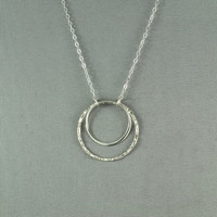 Double Eternity  Round Ring Necklace, 925 Sterling Silver, Pretty, Simple, Everyday Wear Necklace