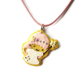 Sanrio Little Twin Stars butter cookie necklace, Lala charm, twins gift