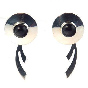Modernist Mexican Sterling Black Onyx Earrings, Vintage, 1930s to 1980s