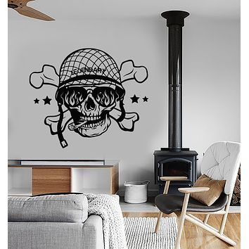 Vinyl Wall Decal Soldier Skull Head Smoking Cigar Bones Stickers (3269ig)