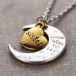 Hand stamped I Love You to the Moon and Back Charm Necklace Silver Gold SISTER