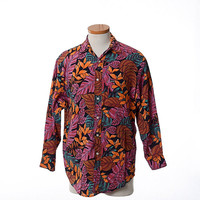 Men's Vintage 80s Georges Marciano Guess Shirt 1980s Modern Leaves Pimp Club Disco New Wave Rayon Shirt / Size 1 S/M