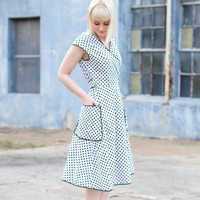 vintage 1940s day dress / 1950s day dress / polka dot dress / cotton wrap dress small / wrap dress vintage black and white cotton day dress