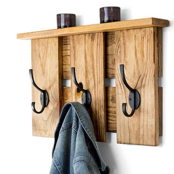 Industrial Coat Rack - Entryway Coat Hooks - Reclaimed Wood Coat Rack - Rustic Entryway Organizer - Pallet Furniture - Hanging Coat Hooks