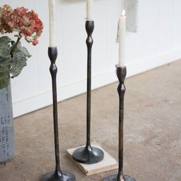 Set of 3 Cast Aluminum Taper Candle Stands- Antique Black