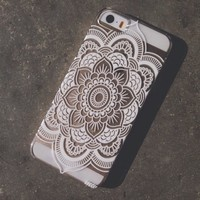 Plastic Case Cover for iPhone 5 5S 5C 6 6Plus (Pick One) Henna Full Mandala pattern ethnic hipster mayan teal dream catcher dreamcatcher floral flower