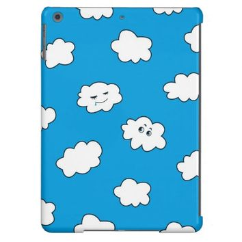 Blue Sky Funny Cartoon Clouds Cover For iPad Air
