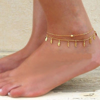 Jewelry Stylish Ladies Shiny Gift Cute New Arrival Sexy Hot Sale Simple Design Chain Tassels Leaf Double-layered Anklet [8080500551]