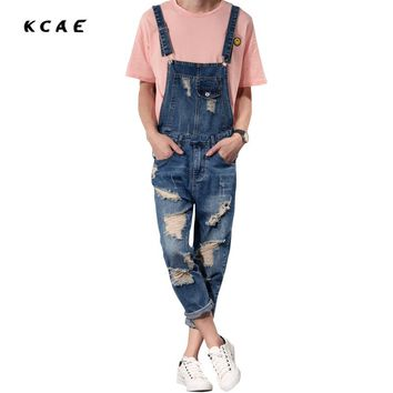 2016 New Mens Bib Overalls Fashion Ankle Length Denim Overalls Men Ripped Jeans Male Denim Jumpsuit