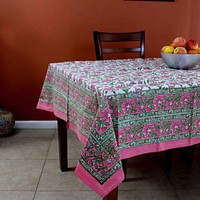 Hand Block Print Floral Cotton Tablecloth Square 60 x 60 inches Pink Green Blue Gold Red