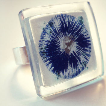 Adjustable blue ring - Handmade fused glass ring - Unique ring for her - Fused glass jewelry - Handpainted blue ring - Artistic ring