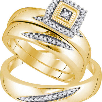 10kt Yellow Gold His & Hers Round Diamond Round Matching Bridal Wedding Ring Band Set 1/5 Cttw 92271