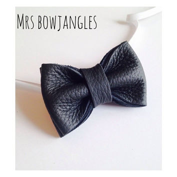 Real leather , Kids bow tie, page boy outfit, ring bearer outfit ,stripy bow tie ,toddler bow tie ,first birthday outfit ,wedding bow tie,