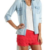 Lt Blue Denim High-Low Button-Up Chambray Tunic by Charlotte Russe