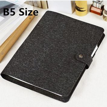 2017 Vintage Personal Organizer Classic Felt Cover Business Office Binder Notebook Weekly Monthly To Do Agenda Planner Big B5
