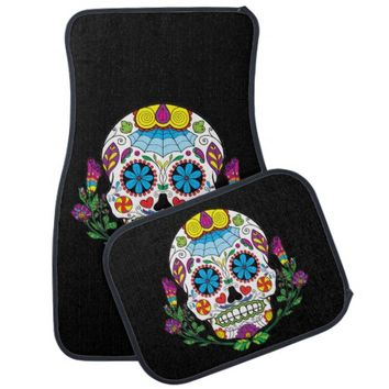 Colored Flowers Mexican Tattoo Sugar Skull Car Mat