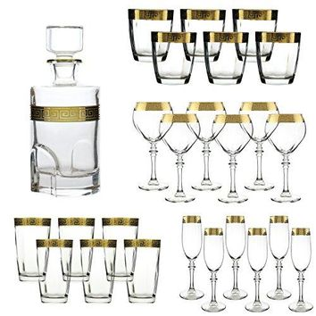 Versace Gold Rimed Glassware - w/ Full Decanter - Wine glasses - Champagne Flutes - Double Old Fashion DOF Glasses and Cocktail High Ball Glasses Made in Italy