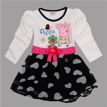 children peppa pig embroidery waistband baby girl dress [8833597580]