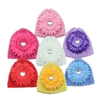 2016 New Arrival Winter Warm Cute Baby Girl Infant Toddler Hand Crochet Beanie knitted Hat + Daisy Flower Clip Cap Accessories