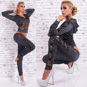Leopard Patchwork Twinset Hoodies Set Activewear
