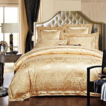 Gold/White/Blue Jacquard Silk Bedding Set Luxury 4/6pcs Satin Bed Sets Duvet Cover King Queen Bedclothes Bed Linen Pillowcases