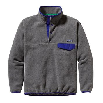 Patagonia Men's Synchilla® Recycled Snap-T® Fleece Pullover | Nickel w/Cobalt Blue