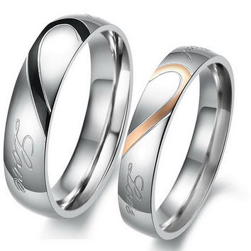 "1PCS Stylish Engraved Heart His OR Hers Titanium Steel Promise Ring ,""Real Love"" Couples Wedding Anniversary  [8963726599]"