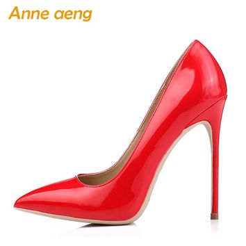 12cm High thin Heels Women Pumps Pointed Toe Shallow Bridal Wedding Shoes Sexy Ladies Women Shoes Red High Heels Big Size 34-46
