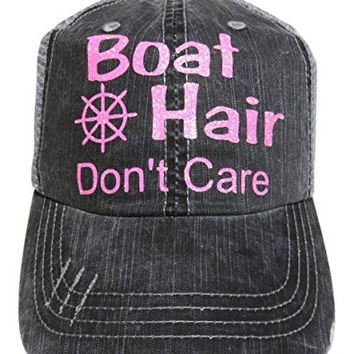 Glitter Boat Hair Don't Care Distressed Look Grey Trucker Cap Hat (Light Pink Glitter Letters)
