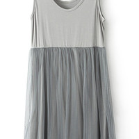 ROMWE Mesh Pleated Lined Grey Dress