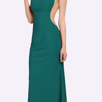 Green Long Formal Dress with Sheer Side Cut-Outs and Slit