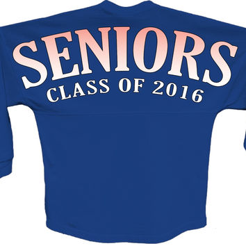Seniors class of 2016 orange pom print J america shirt