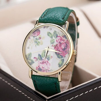 Flowers Printed Dial Lady's Quartz Dress Watch 8 Color Choosing Floral PU Leather Band Wristwatches #lcmq = 5987798657