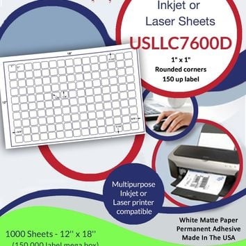 "USLLC7600D- 150 up - 1"" x 1"" Rounded corners on a 12'' x 18'' label sheet."
