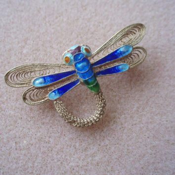 Vintage antique filigree cloisonne dragonfly brooch