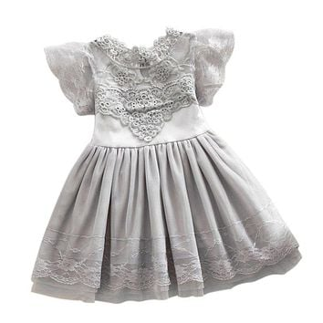 Summer Toddler Girls Princess Dress Baby Kids Lace Tulle Girl Dresses Floral Cute Tutu Dress 2-7 Years