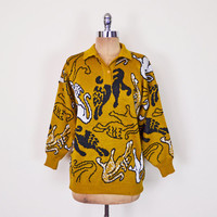 Vintage 80s Mustard Yellow Abstract Lion Animal Print Sweater Novelty Print Jumper Oversize Sweater 80s Sweater Hipster Sweater Women S M L