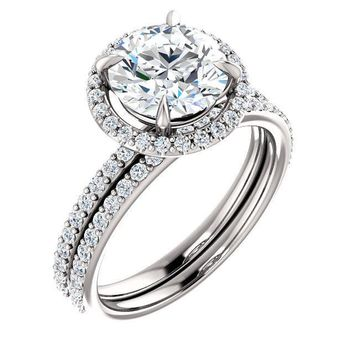 Round Moissanite Diamond Accent Ice Halo Ring