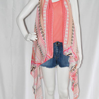 Bohemian Draped Vest/ Assymetrical Waterfall Vest/ Lightweight Cover up/ Long and Loose Vest/ Kimono Style Top