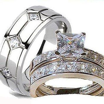 His Her Wedding Ring Set Cz Stainless Steel Wedding Rings