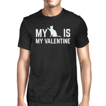 My Cat My Valentine Men's Black T-shirt Cute Graphic For Cat Lovers