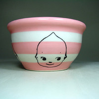 small bowl kewpie (striped pink/natural) - Made to Order