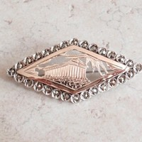 Greek Parthenon Brooch Pin 950 Silver 9K Gold Bead Set Marcasites Vintage