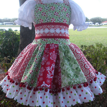 Custom Boutique Christmas  Red Green  Holiday Pom Pom Dress Girl 2 3 4 5 6 7 8