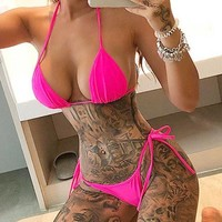 Summer Trending Women Sexy Pure Color Lace-Up Two Piece Bikini Swimwear Rose Red