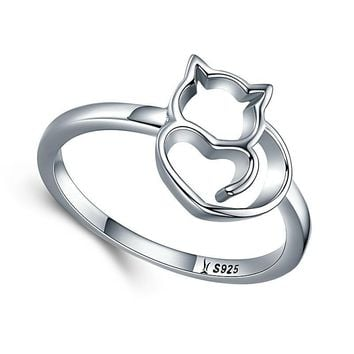 Cat And Heart Shape Finger Ring For Women Sterling Silver