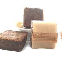 Skin Toning Organic Body Buff Bar Soap / 6oz Square Bar/ Spiced Latte Molasses Brown Sugar Solid Scrub/ Smooth Cellulite Wrinkles Gem Elixir
