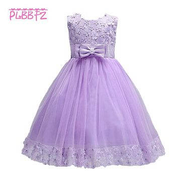 Retail Floral Flowers Girl Dresses Appliques Bow Decoration First Communion Dresses Elegant Holy Communion Dresses LL314